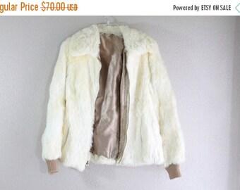 SALE gorgeous genuine cream color rabbit fur coat- bomber- small - super soft