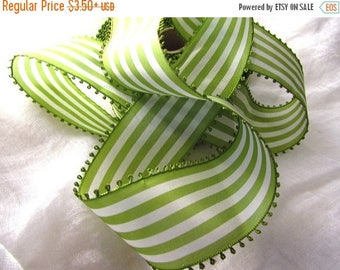 SHIPPING DELAY SALE 10% Vintage Picot Ribbon, Green and White Striped Ribbon, White and Green Taffeta Ribbon, Wide Ribbon, Picot Edge, Vinta