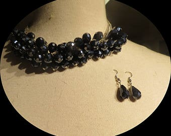 Chunky Black Glass Beads Necklace Choker With Earings  # 039