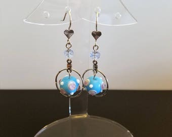 Funky Glass Earrings with Heart Themed Ear Wires