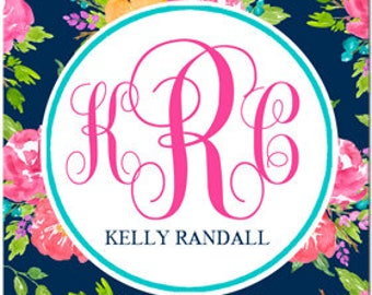 Personalized Labels Printable or Printed w/ FREE SHIPPING Calling Cards,Gift Tags, Back to School, Party Favors, Tags Navy Floral Collection