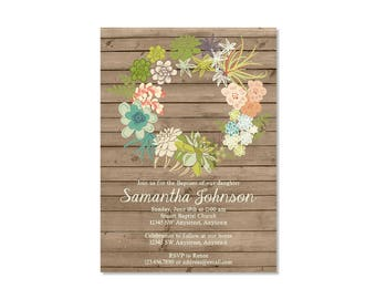 Floral Wreath Baptism Invitation