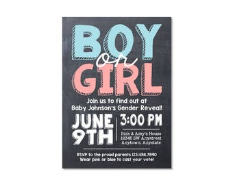 Chalkboard Gender Reveal Party Invitation