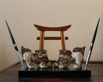 Vintage Foo Dog Pen Holder, Book Rest, Feng Shui, Office Decor