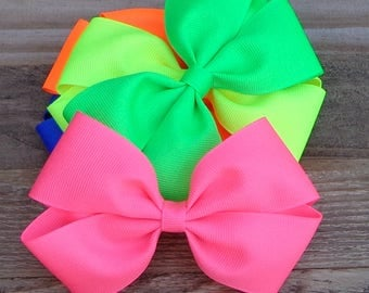 """Set of 5 NEON Boutique Bows~4"""" Boutique Hairbow~Boutique Hair Bow~Basic Boutique Hair Bow~NEON Hair Bow~Simple Hair Bow~Boutique Bow"""
