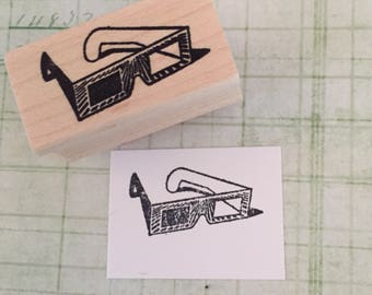 Eclipse Glasses 3-D Glasses Rubber Stamp