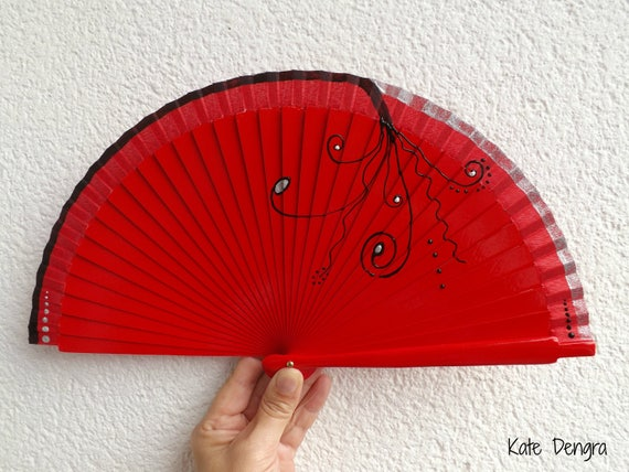 Red Black Swirls 19cm Hand Fan READY to SHIP