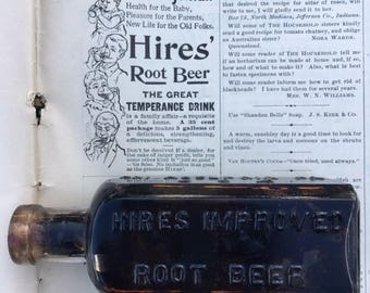 Antique Hires Rootbeer bottle and copy of 1892 Household magazine Ad