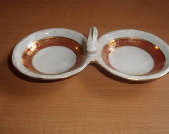 vintage double open salt dip cellar made poland orange band