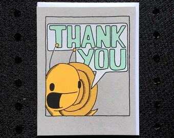 thank you snail card, thank you card, kids thank you card, snail card, kids card, screen printed card
