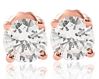 1 cttw Diamond Studs 14K Rose Gold (I-J, I2-I3)