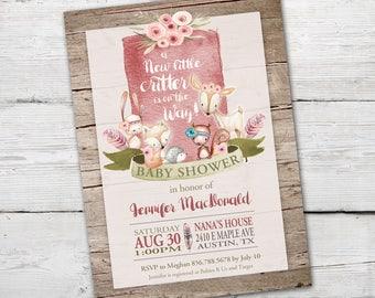 Woodland Baby Shower Invitation, Woodland Baby Shower, PRINTABLE, Woodland Critters, Forest Baby Shower, Woodland Invitation
