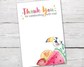 Tutti Frutti Thank You Card, PRINTABLE, Tutti Frutti Invitation, Twotti Frutti Thank You Card, Tutti Frutti Party, Instant Download