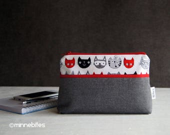 Cat Lover Wristlet Wallet - Small Handmade Purse - Gray Red Phone Pouch - Travel Makeup Case - Gift for Teen - Cat Purse - Ready to Ship
