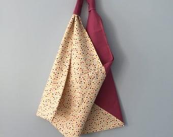 Azuma Bukuro  Large Bento Bag Cotton /  HANDMADE Bag Light Washable Ecology