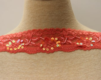 Orange Stretch Lace With Sequins And Barrel Beads   2 Inches Wide   Lace Top  Extender