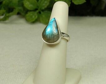 Labradorite Ring, Size 7, Blue Flash, Pear Shape, Sterling Silver, Spectrolite, Natural Labradorite, Blue Labradorite