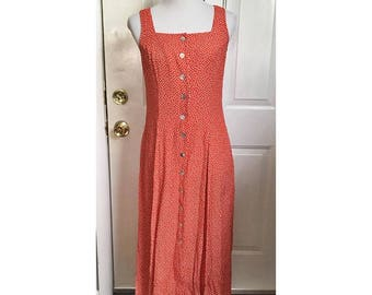 90's Red and White Polka Dot Maxi Dress