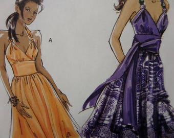 MIDRIFF DRESS Pattern • Vogue 8381 • Miss 12-18 • Knotted Straps • Surplice Sundress • Sewing Patterns • Modern Patterns • WhiletheCatNaps