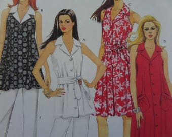 TENT DRESS Pattern • McCalls 5636 • Miss 6-14 • Belted Flared Tunic • Tapered Pants • Sewing Patterns • Modern Patterns • WhiletheCatNaps