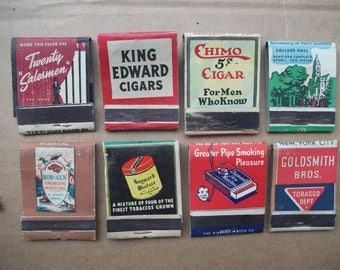 Vintage 1940's Matchbook Covers Tobacco & Cigar, Optimo, Emanelo, King Edward Front Strike matchbooks