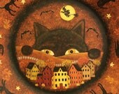 Halloween Folk Art Plate - Huge Black Cat Peering at a Saltbox Village. Witch and Bats Flying, Moon, Hand Painted Fall Decor MADE TO ORDER