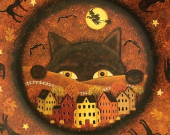 Halloween Folk Art Plate - Huge Black Cat Peering at a Saltbox Village, Witch and Bats Flying, Moon, Hand Painted Fall Decor MADE TO ORDER