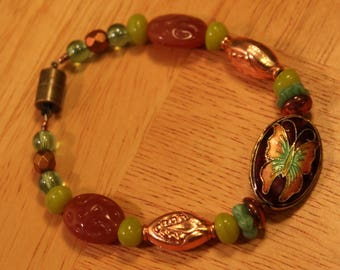 Butterfly Garden, Handmade Bracelet, with Cloisonné, Czech Glass, and Copper Beads, 7.5 inches, Magnetic Clasp