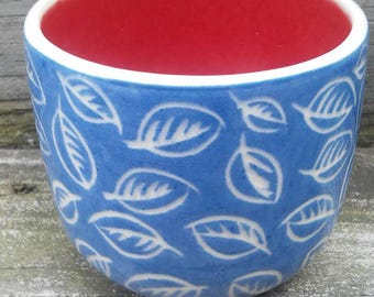 Porcelain Blue and White Sgraffito Leaves with Red *free shipping*