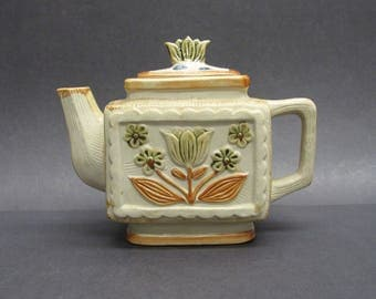 Vintage Square Tea Pot with Green and Brown Mod Tulips (E9591)