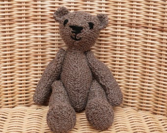 "8"" brown teddy bear hand made brown bear vintage style traditional teddy bear hand knitted in 100% Wool"