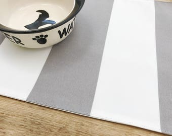 Pet Placemat -  Grey and white stripes in Small Size