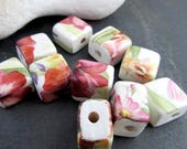 10 Small Red Rose Lily Floral Glazed Square Flat Clay Beads