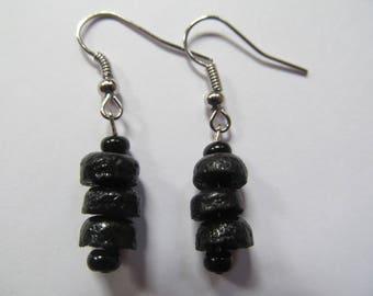 Black Recycled Glass Earrings