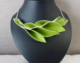 Lime green leather leaf necklace