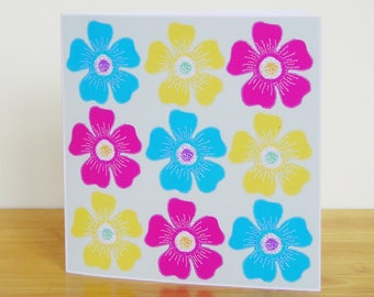 Bright Flower Card, Recycled Card, Art Card