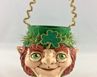 Primitive Folk Art Leprechaun Candy Cup