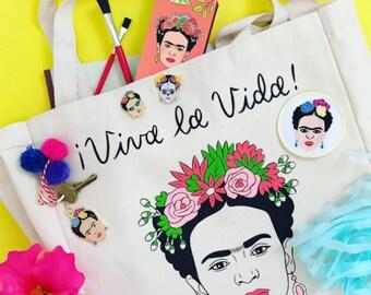 Frida Kahlo Tote Bag, Market Bag, Canvas, Gift (TOTE3)