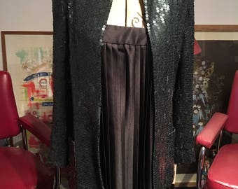 Vintage 1970s / 80s Black Sequinned Jacket