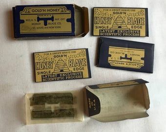 Vintage Gold And Honey Razor Blades In Box