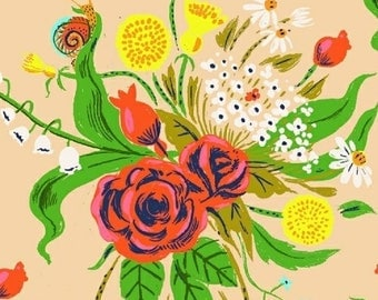 1 Yard SLEEPING PORCH Heather Ross Floral BOUQUETS Snails Dandelion #42205-4 Cotton Lawn Windham Quilting Sewing Child Escargo Nature Fabric