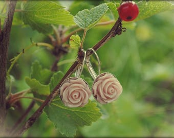 Rose earrings - Old pink