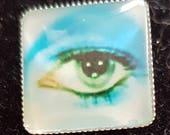 "David Bowie Eye 1""square Brooch Pin"