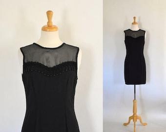 ON SALE Vintage 90s Black Sheath Dress