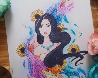 Pocahontas Print. 5x7 Watercolor Fairytale Print