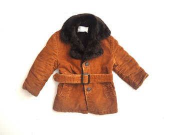 Vintage Child's Corduroy Coat with Faux Fur and Matching Belt