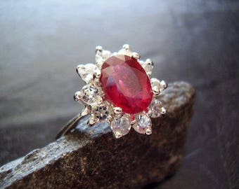 Genuine Ruby Faceted Oval & White Topaz Halo Solid 925 Sterling Silver Engagement Ring, July Birthstone Ring, Gifts For Her, Anniversary