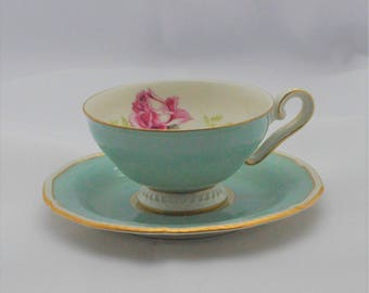 Royal Tettau - Melrose - Konigl - pr - Tettau - Germany - Demitasse - Tea cup and saucer - robins egg blue