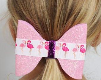Flamingo Hair Bow - Pink Hair Bow  -  Glitter Hair Bow - Glitter Hair Clip - Ready to ship