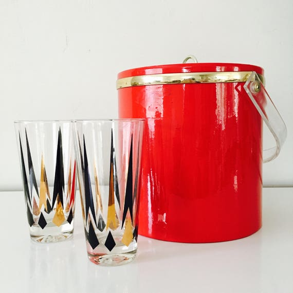 Vintage Red Patent Leather Ice Bucket Clear Lucite Handle Mid Century Modern Barware Gold Detail Holiday Party Made in USA